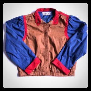 Vintage brown red & blue jumper jacket